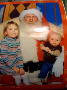Sasha and Owen on Santa's Lap at the Cherry Hill Mall